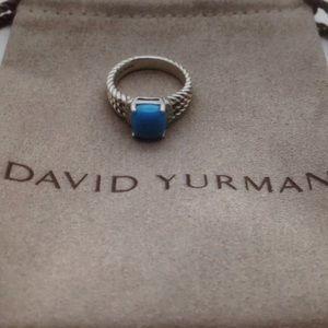 DY 10x8mm Turquoise Diamonds Ring Sz 7